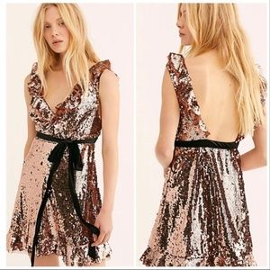 FREE PEOPLE Copper Siren Sequins Mini Dress Size 8